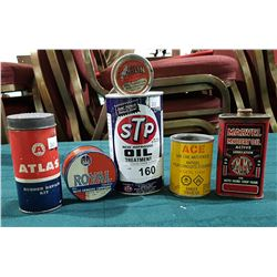 SIX VINTAGE OIL ACCESSORY TINS