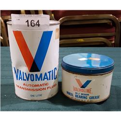 VINTAGE VALVOLINE OIL CAN & VALVOLINE GREASE TIN