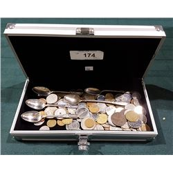 COLLECTOR CASE CONTAINING WORLD COINS AND SILVER PLATE SPOONS