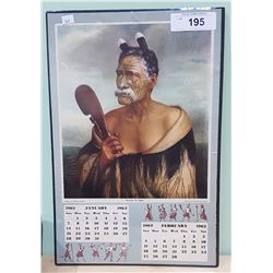 1962 CALENDAR FEATURING KEWENE TE HAHO A POLYNESIAN WARRIOR WHO DIED IN 1902