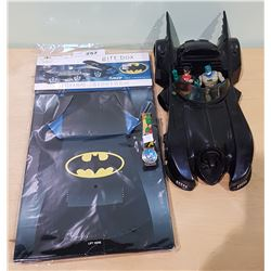1989 BATMOBILE W/BATMAN AND ROBIN FIGURES, BATMAN WATCH AND GIFT BOX