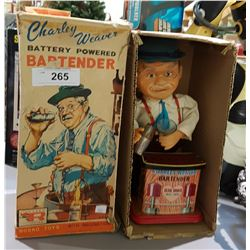 VINTAGE 1962 CHARLIE WEAVER BATTERY POWERED BAR TENDERS, IN ORIGINAL BOX