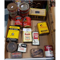 12 VINTAGE GENERAL STORE TINS AND SEAL-A WAX BOX