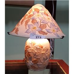 PRETTY PORCELAIN TABLE LAMP W/ CLEMATIS MOTIF