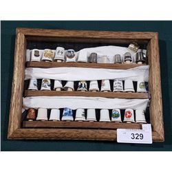 FRAMED COLLECTION OF VINTAGE THIMBLES