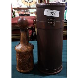 VINTAGE LEATHER WRAPPED ITALIAN DECANTER  W/CUSTOM WOOD CASE
