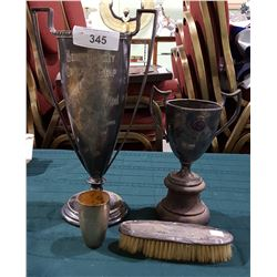 2 VINTAGE SILVER PLATE TROPHIES, 800 SILVER CUP, STERLING SILVER BRUSH