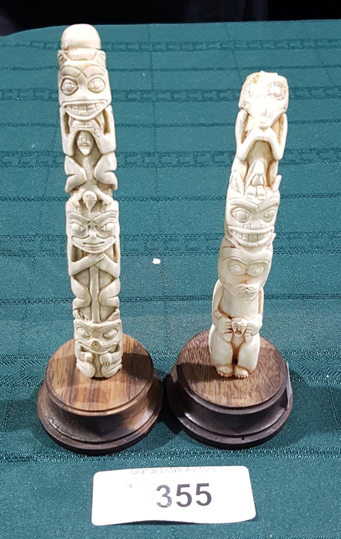 2 Small Native Carved Bone Totem Poles