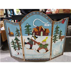 TIN FIRE PLACE SCREEN WITH SNOWMAN DESIGN