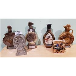 6 VINTAGE COLLECTIBLE WESTERN THEMED JIM BEAM DECANTERS