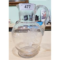 ETCHED CRYSTAL PITCHER