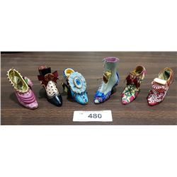 6 ORNATE SHOE CHRISTMAS DECORATIONS