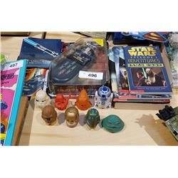 LOT OF STAR WARS COLLECTIBLES INCLUDING BOOKS, COLLECTOR CARDS, ETC