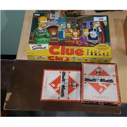 1950'S MONOPOLY GAME UK EDITION AND THE SIMPSONS CLUE GAME