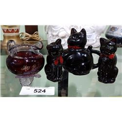 VICTORIAN RUBY FLASH GLASS CREAM PITCHER AND VINTAGE JAPANESE 3 PC TEAPOT SET