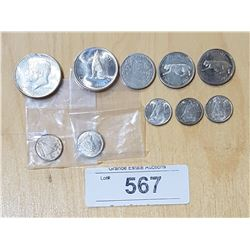 9 CANADIAN SILVER COINS AND 1 US SILVER HAT DOLLAR