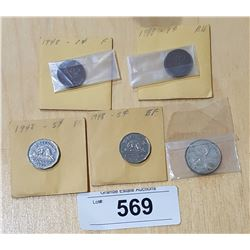 5 1948 CANADIAN SILVER COINS