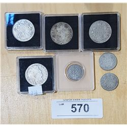 6 CANADIAN SILVER COINS AND 1 US SILVER HALF DOLLAR
