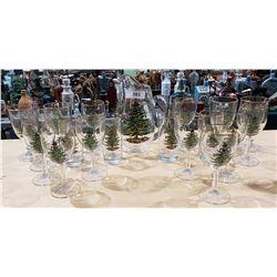 19 PIECE SET SPODE CHRISTMAS TREE GLASS WARE