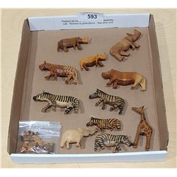 COLLECTION CARVED WOOD AFRICAN ANIMALS
