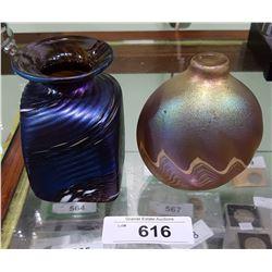 TWO ROBERT HELD ART GLASS VASES SIGNED