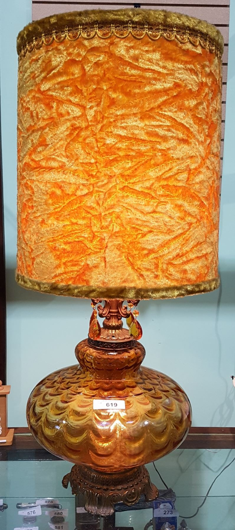 Vintage Mid Century Modern Amber Glass Table Lamp