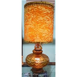 VINTAGE MID CENTURY MODERN AMBER GLASS TABLE LAMP