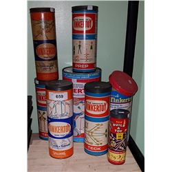 EIGHT CONTAINERS OF VINTAGE TINKER TOYS