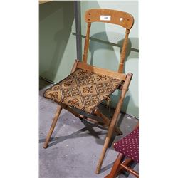 PRIMITIVE FOLDING CHAIR W/TAPESTRY SEAT