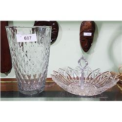 LARGE CRYSTAL VASE & PRESSED GLASS BOWL
