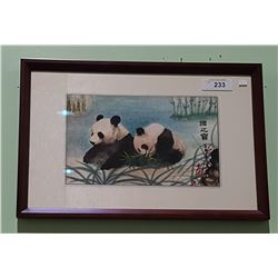 FRAMED ASIAN WATERCOLOUR OF PANDAS SIGNED