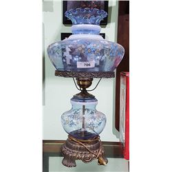 """VINTAGE BLUE GLASS """"GONE WITH THE WIND"""" LAMP"""