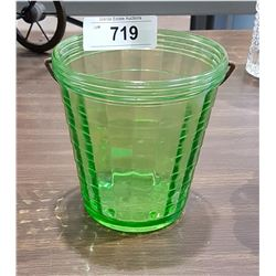 VINTAGE GREEN DEPRESSION GLASS ICE BUCKET