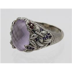 JUDITH RIPKA STERLING SILVER RING WITH PALE LAVENDAR STONE