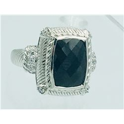 JUDITH RIPKA STERLING SILVER RING WITH BLACK STONE