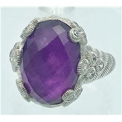 JUDITH RIPKA STERLING SILVER RING WITH PURPLE STONE