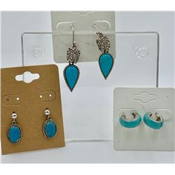 3 BEAUTIFUL STERLING SILVER AND TURQUOISE EARRINGS