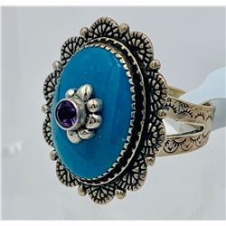 BEAUTIFUL CAROLYN POLLACK TURQUOISE STERLING SILVER RING