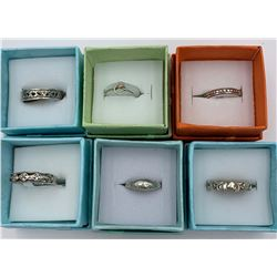 LOT OF 6 SMALL STERLING SILVER RINGS