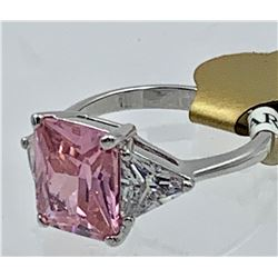 BEAUTIFUL LARGE PRINCESS CUT PINK STONE AND TRIANGLE CZ STERLING SILVER RING