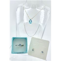 AQUAMARINE COLORED GEMSTONE  AND STERLING SILVER SET