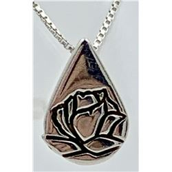 KATHY K. BERNU STERLING SILVER MEMORIAL ROSE NECKLACE AND PENDANT