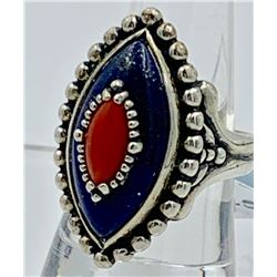 CAROLYN POLLACK LAPIS STERLING SILVER SOUTHWEST RING