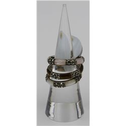 3-PIECE STERLING STACKABLE RINGS WITH  BROWN AND MOTHER OF PEARL STONES