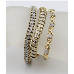3 GOLD-TONED STERLING SILVER BRACELETS WITH MOISSANITES AND DIAMONDS