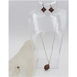 GORGEOUS REDDISH-ORANGE EARRING, NECKLACE AND RING SET .925