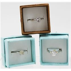 3- SOLITAIRE CZ STERLING SILVER RINGS
