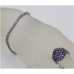 TANZANITE COLORED STERLING SILVER BRACELET AND RING