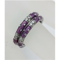 BEAUTIFUL THAILAND .925 STACKABLE PURPLE STERLING RINGS WITH CZS