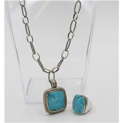 BEAUTIFUL TURQUOISE AND STERLING SILVER NECKLACE AND RING SET